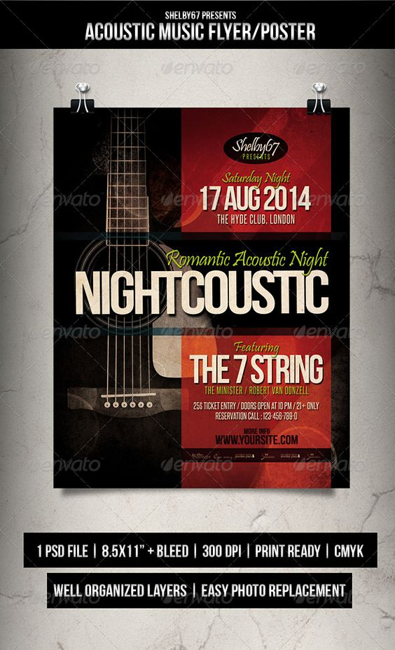 Acoustic Music Flyer / Poster | Music Flyer, Acoustic And Event Flyers