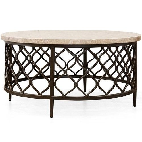 Steve Silver Roland 36 Round Stone Top Coffee Table In Yellow Metal Base Coffee Table Coffee Table Round Cocktail Tables