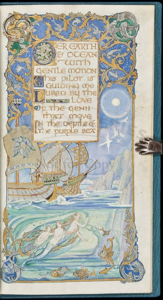 To the Night and the Cloud by Percy B. Shelley. Gorgeous Illuminated Manuscript by Jessie Bayes.