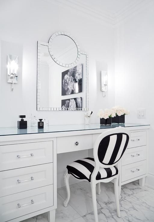 A Black And White Stripe French Chair Sits On Marble Floor Tiles At A White Makeup Vanity Accented With N White Vanity Chair Vanity Chair Makeup Vanity Storage