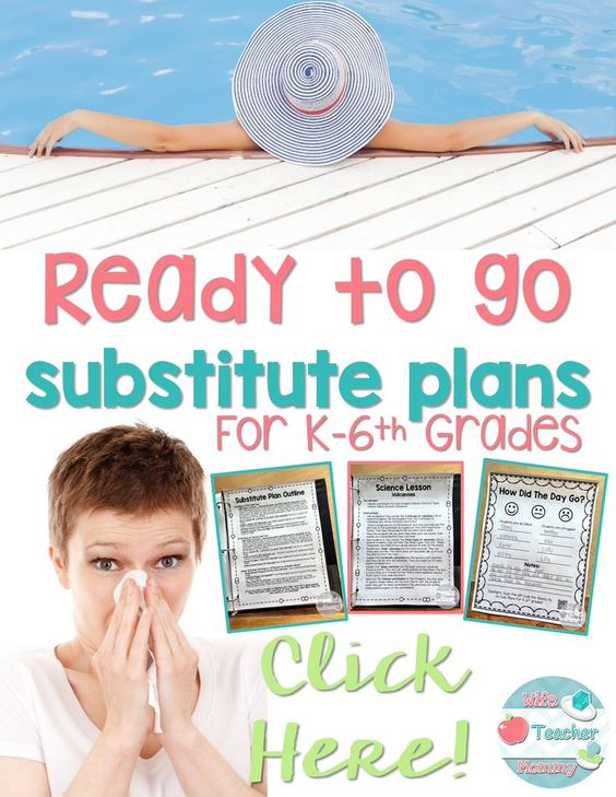 """Sub Plans Got You Down? Ready to go Sub Plans are perfect for unexpected sick days, emergency sub plans, or when you just need a """"mental health day"""" including a break from the planning. These ready to go sub plans are available for all elementary grades Kindergarten through 6th grades. Multiple days available as well as bundle discounts! Shop Here https://www.teacherspayteachers.com/Store/Wife-Teacher-Mommy/Category/Ready-To-Go-Sub-Plans"""