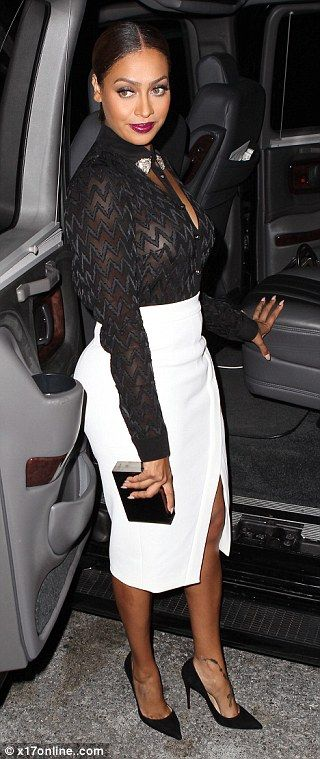 La La Anthony, The plunge: The 35-year-old wore a sexy see-through black button down shirt that had cut-o...