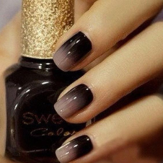 Use a makeup sponge for ombré nails, finish with clear top coat