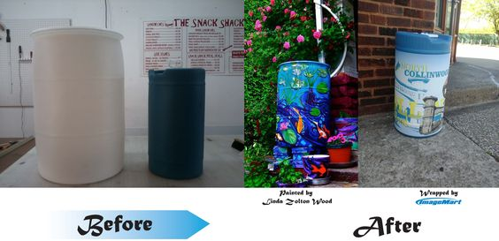 Hand painted and vinyl wrapped rain barrels