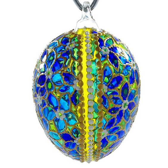 This luxurious and exclusive glass easter egg ornament is