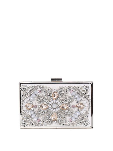 White PU Clasp Lock Glitter-finished Evening Clutch: