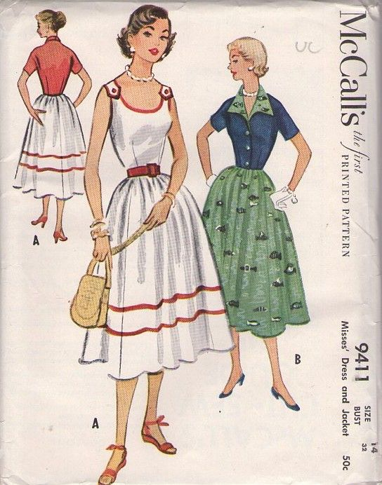MOMSPatterns Vintage Sewing Patterns - McCall's 9411 Vintage 50's Sewing Pattern DAZZLING Rockabilly Era Lucy Scoop Neck Shoulder Buttoned Party Dress, Wing Collar Jacket Cover Up