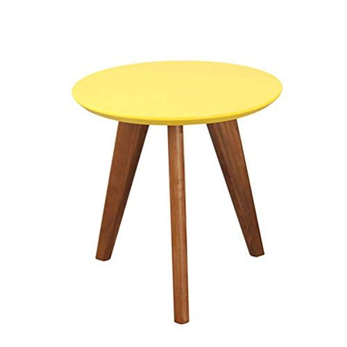 Xbbz Solid Wood Round Yellow Side Table Nordic Creative End Table
