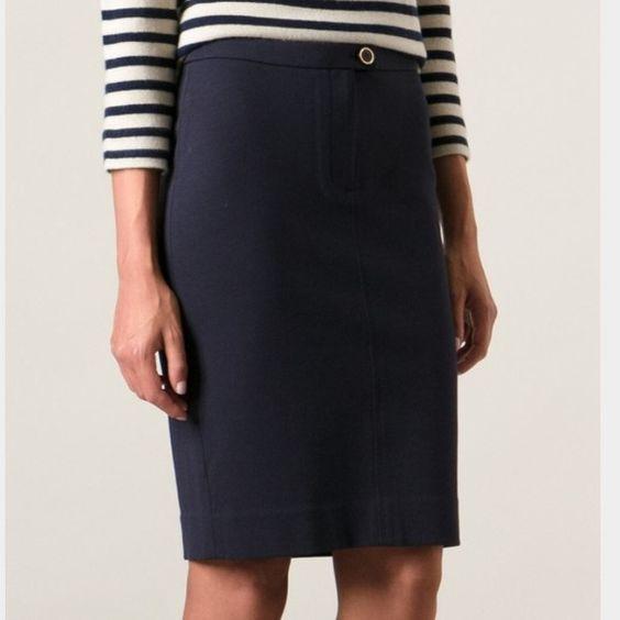 Tory burch navy pencil skirt   Faldas tubo, Faldas lápiz azul ...