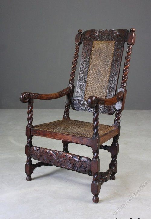 Antique Carved Oak Open Arm Chair Antiques Atlas Armchair