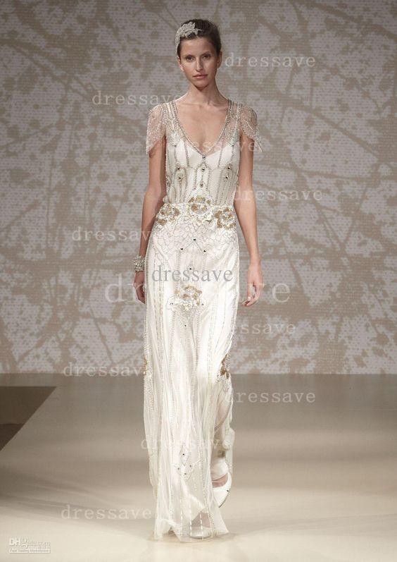 Wholesale Bridal Sashes - Buy 2014 Jenny Packham Wedding Dresses Sexy Summer V Neck Beaded Applique Sheath Wedding Gown BO1397, $338.87   DHgate