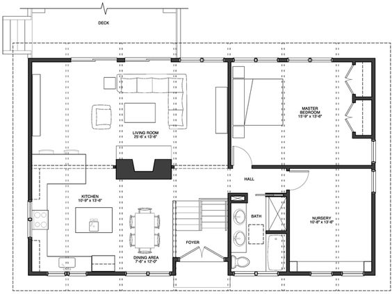Open Foyer House Plans : Open floor plan kitchen dining room and living