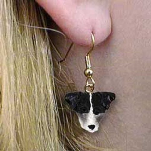 Jack Russell Terrier Black & White with Rough Coat Earrings Hanging