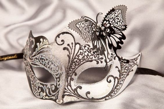 Masquerade Mask with Filigree Metal Butterfly - TERESA SILVER