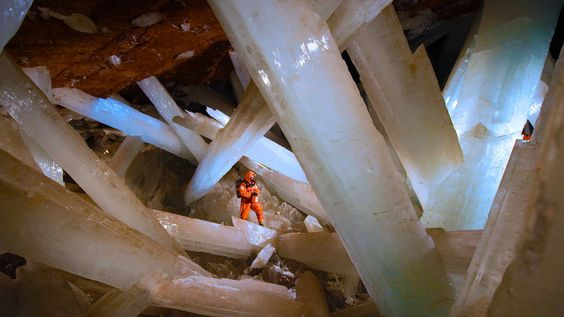Massive selenite crystals in the Cave of the Crystals in Naica, Mexico (© Carsten Peter/Getty Images)