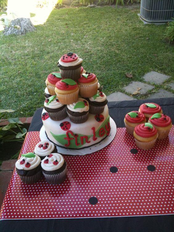 Ladybug cupcake tower cake.
