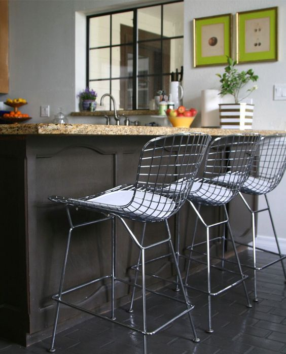 Nice, Modern, Inexpensive & Simple - Mod Made Chrome Wire Counter Stool MM-8033LS-WHITE: