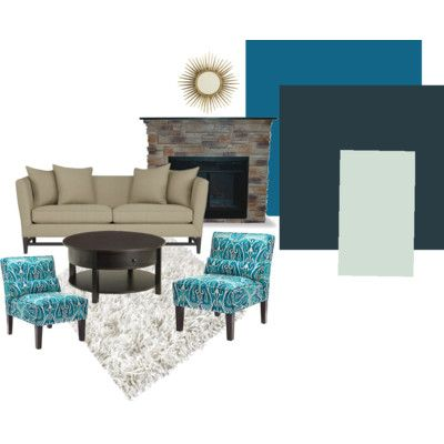 Fireplace wall paint teal living room brown and teal pinterest beige couch colors and for Teal colour schemes for living rooms