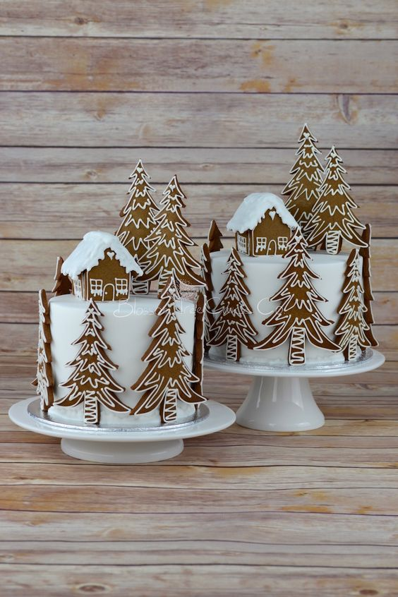 Gingerbread Forest House Christmas cake by Blossom Tree Cake Co Harrogate North Yorkshire.jpg