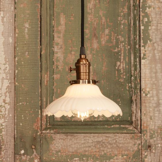 Vintage Glass Light With Vintage White Glass by lucentlampworks