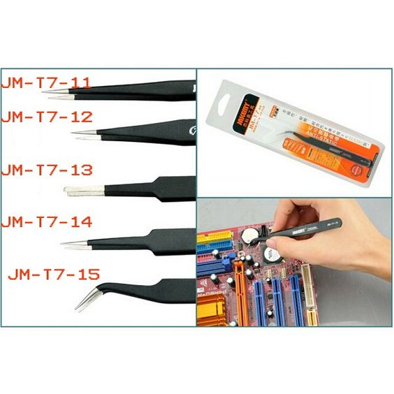 JAKEMY JM-T7-15 Stainless Steel DIY Electronic Curved End Tweezer Forceps Maintenance Tools