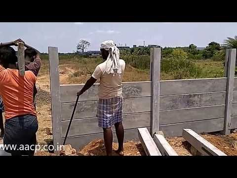 Installation Of Precast Concrete Fence Post Diy Youtube Concrete Fence Concrete Fence Posts Precast Concrete