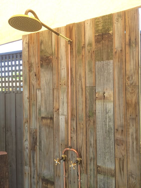 Copper brass and outdoor showers on pinterest for Copper pipe shower