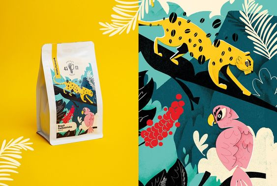 A stylized illustration of a cheetah and a parrot to display illustrative design on packaging.