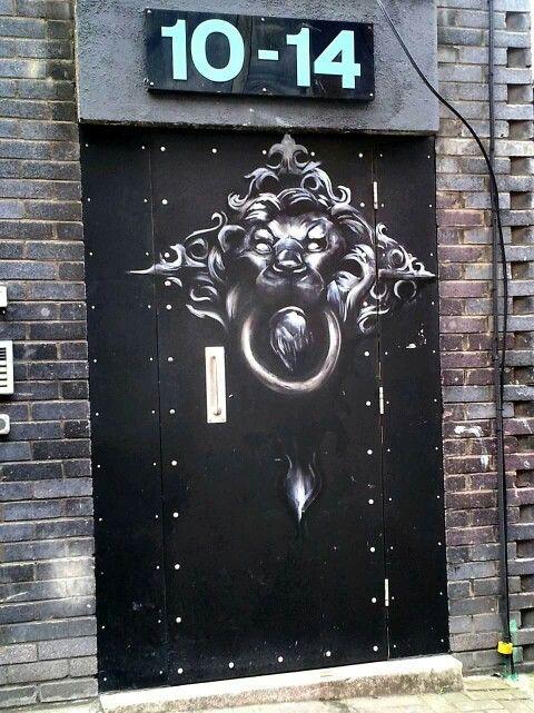 Street Art on a door, Shoreditch