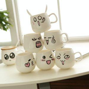 adorable tasse en c ramique avec couvercle cuill re lait du caf mugs tasse de th de couple. Black Bedroom Furniture Sets. Home Design Ideas