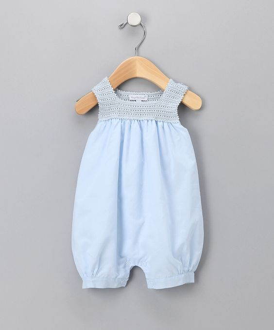 Blue Crocheted Bubble Romper - Infant & Toddler