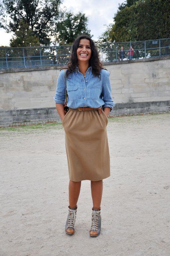 chambray shirt + camel skirt
