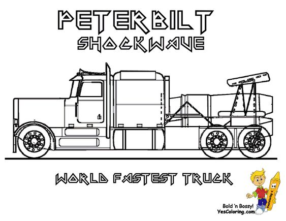 shockwave world fastest truck peterbilt jet truck  you can print out this  truck  coloringpage