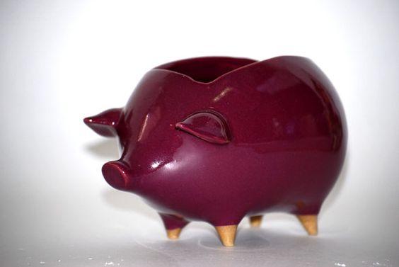 Ceramic pig planter or sponge holder in deep purple