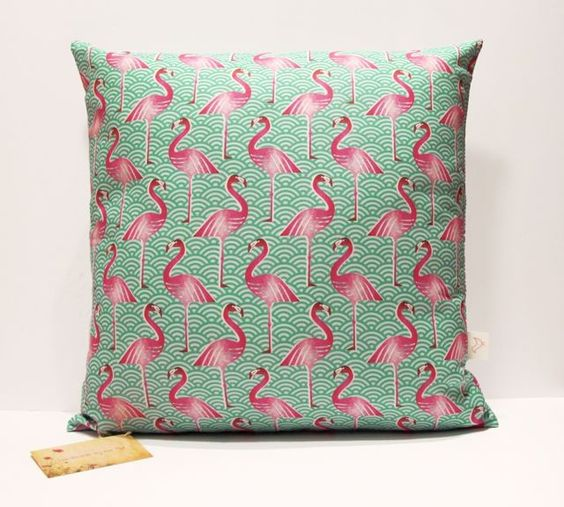 Pink flamingo scatter cushion by Handmade by me.