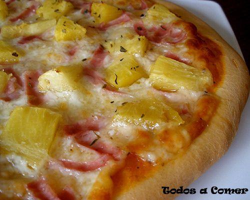 Receta de pizza hawaiana de jamón y piña