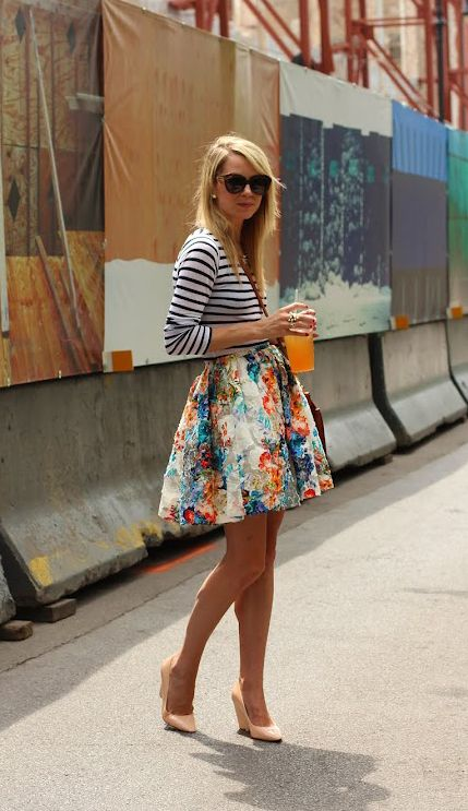 stripes on floral with a neutral wedge... yup it works!: