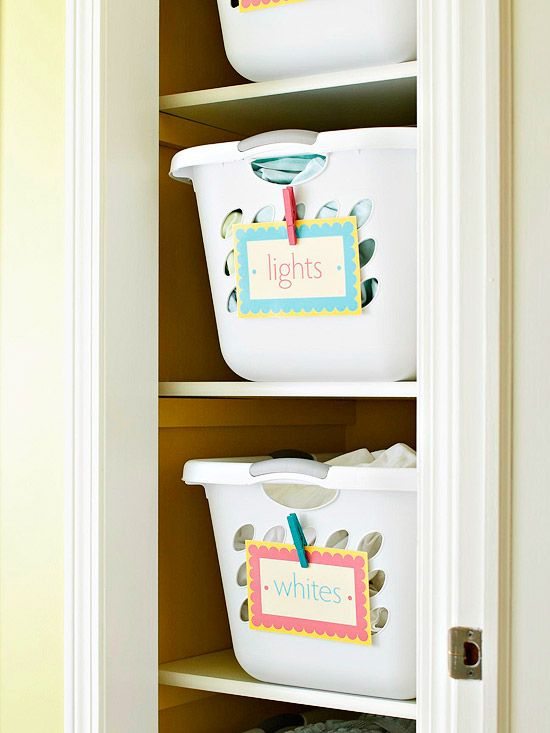 Open shelving hampers and closet on pinterest for Open shelving laundry room