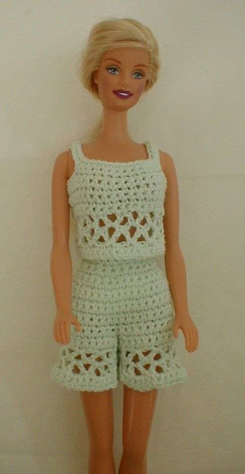 Free Crochet Dress Pattern For Barbie : Shorts, Tops and Patterns on Pinterest