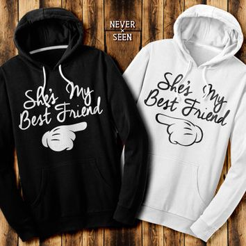 she 39 s my best friend two matching hoodie contrast. Black Bedroom Furniture Sets. Home Design Ideas
