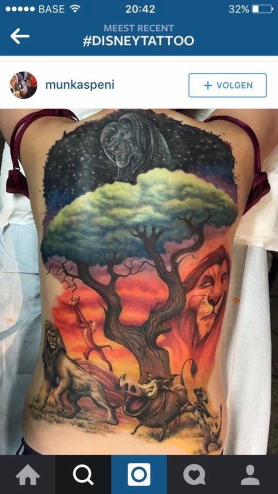 Full back tattoo lion king
