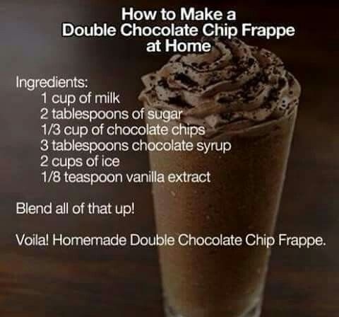 Double Chocolate Chip Frappe - added hot chocolate powder and a scoop of pero…