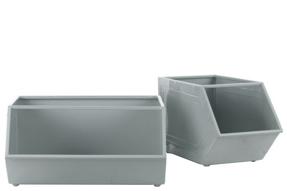 2 Piece Metal Rectangular Storage Basket Set