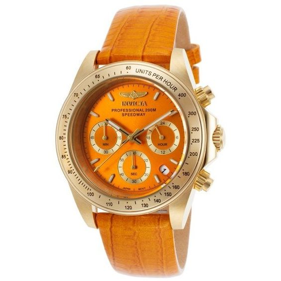 Invicta Women's Speedway Chronograph Orange Genuine Leather and Dial ($110) ❤ liked on Polyvore featuring jewelry, watches, orange, 18k watches, chronograph watches, leather crown, bezel watches and dial watches