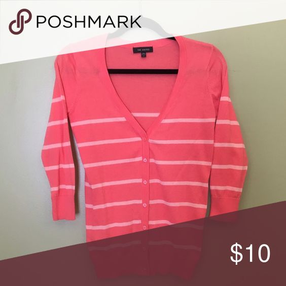 Coral and white striped cardigan Coral and white striped cardigan. The Limited. Like new. The Limited Sweaters Cardigans