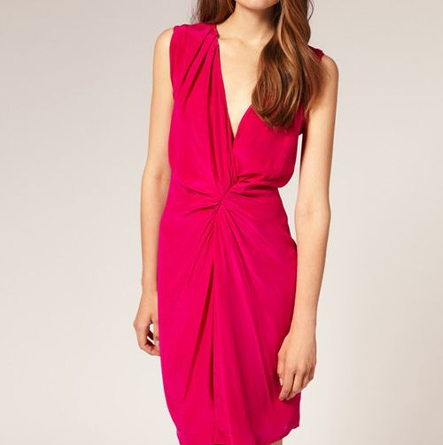 Fuscia Pink Gathered Front Sleeveless Little Formal Cocktail Dress