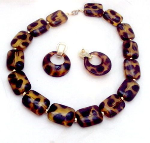Faux Tortoise Bead Necklace and Earrings