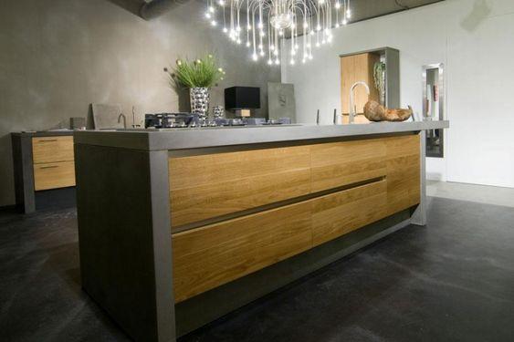 Betonnen keukens met hout. - Handgemaakte houten keukens van