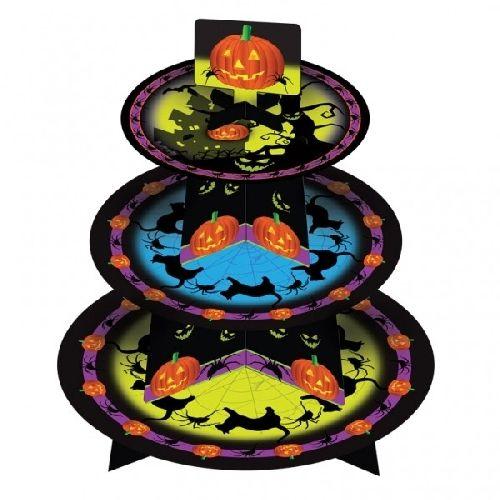 Alzata in cartone per dolcetti #halloween in cartoncino a 3 piani, per ospitare cupcake, muffin, biscottini con gusti spaventosi e forme terrificanti, per un halloween che si rispetti. Decorato con simpatiche zucche, pistrelli e gattacci neri