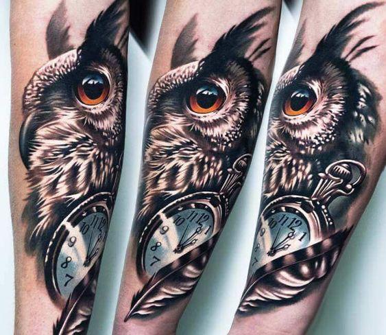 Owl And Clock Tattoo By A D Pancho Post 21851 Clock Tattoo Owl Tattoo Tattoo Style